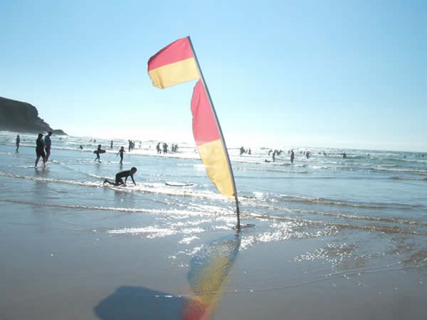 Lifeguard's flag at Mawgan Porth